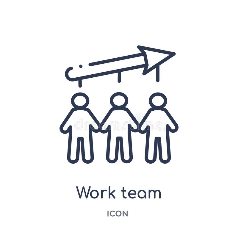 Linear work team icon from Job resume outline collection. Thin line work team icon isolated on white background. work team trendy royalty free illustration