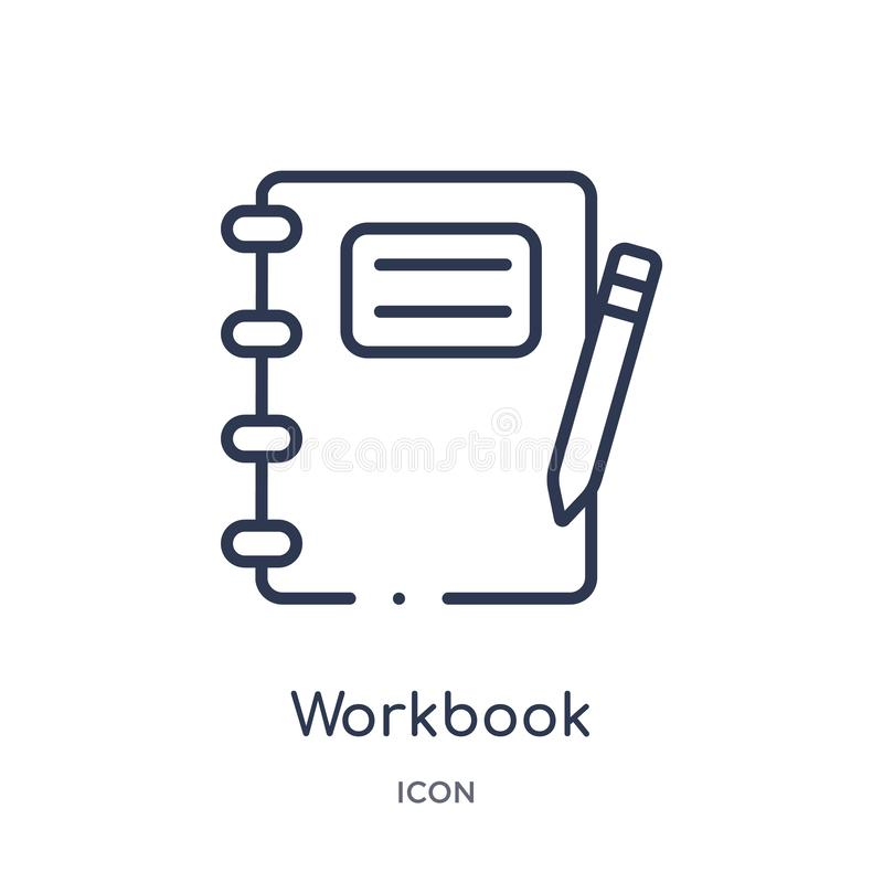 Linear workbook icon from Business and analytics outline collection. Thin line workbook vector isolated on white background. vector illustration