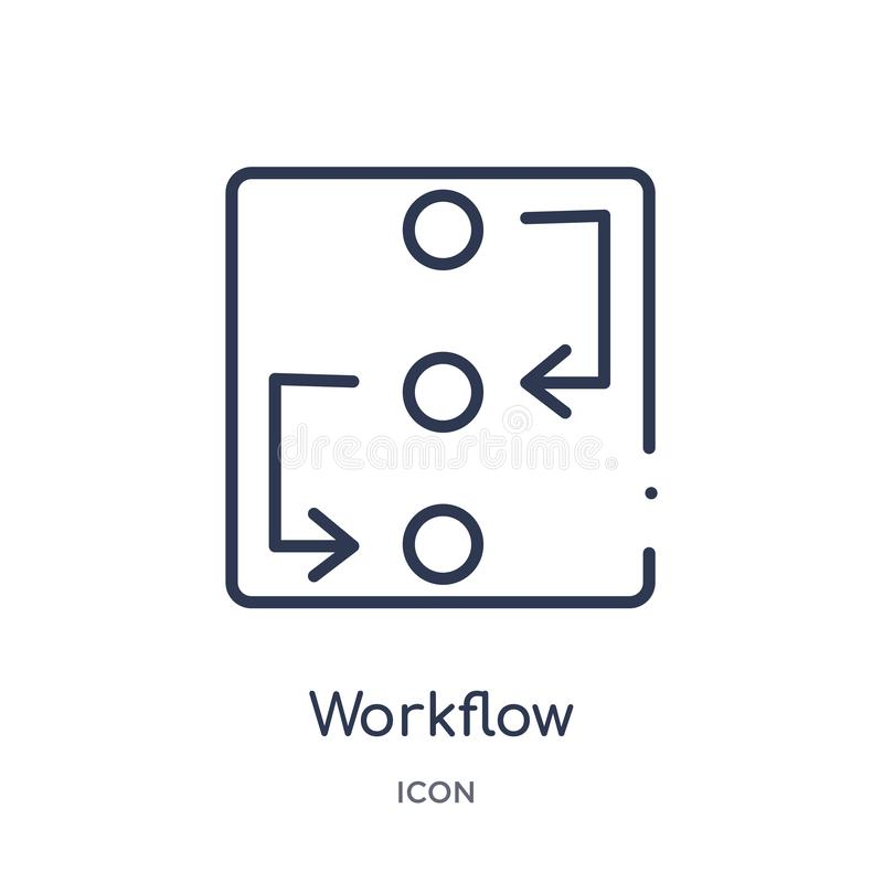 Linear workflow icon from Creative process outline collection. Thin line workflow vector isolated on white background. workflow vector illustration
