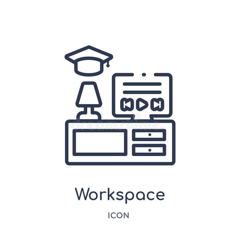 Linear workspace icon from Elearning and education outline collection. Thin line workspace vector isolated on white background. vector illustration