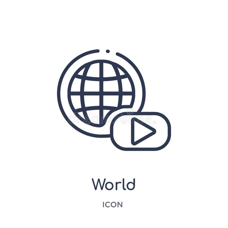 Linear world icon from Blogger and influencer outline collection. Thin line world vector isolated on white background. world royalty free illustration