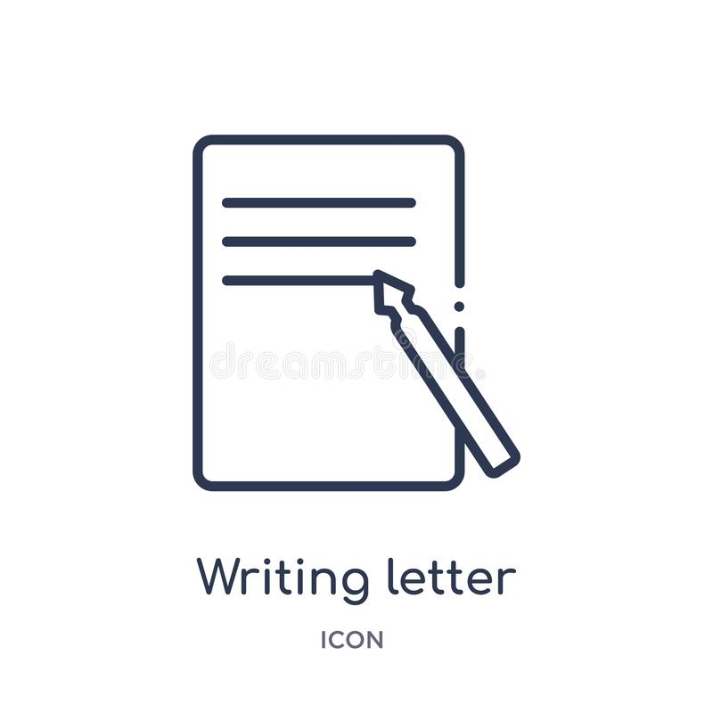 Linear writing letter icon from Comunation outline collection. Thin line writing letter vector isolated on white background. vector illustration