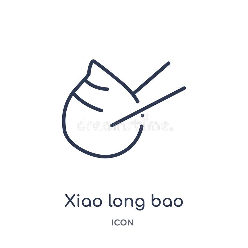 Linear xiao long bao icon from Food and restaurant outline collection. Thin line xiao long bao icon isolated on white background. stock illustration