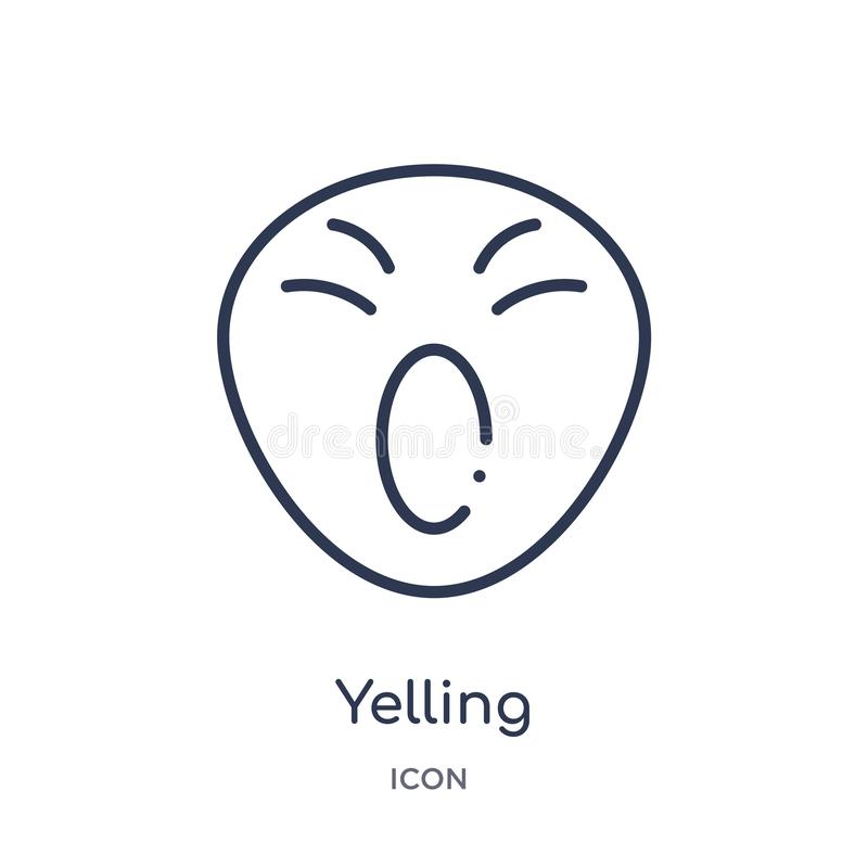 Linear yelling icon from Emotions outline collection. Thin line yelling vector isolated on white background. yelling trendy royalty free illustration