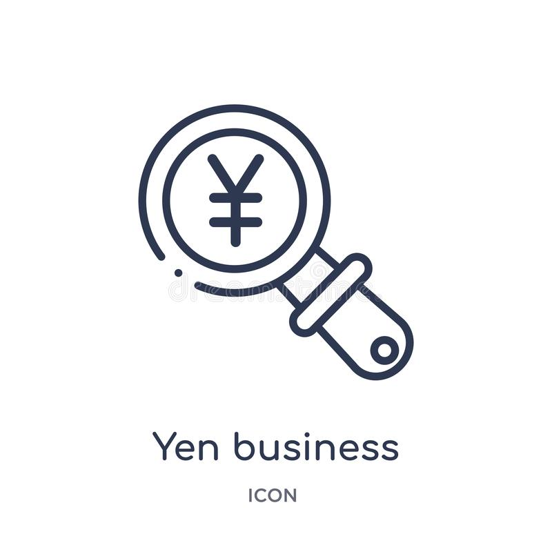 Linear yen business search icon from Business outline collection. Thin line yen business search icon isolated on white background vector illustration