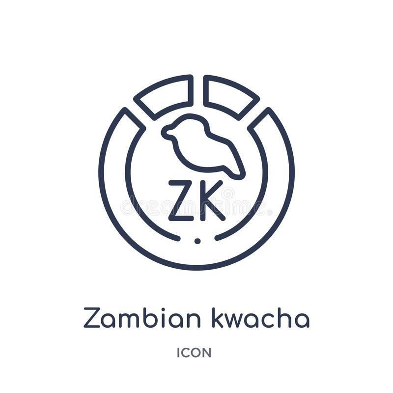 Linear zambian kwacha icon from Africa outline collection. Thin line zambian kwacha vector isolated on white background. zambian royalty free illustration