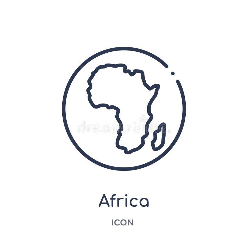 Lineare Afrika-Ikone von der Afrika-Entwurfssammlung Dünne Linie Afrika-Vektor lokalisiert auf weißem Hintergrund Afrika modisch stock abbildung