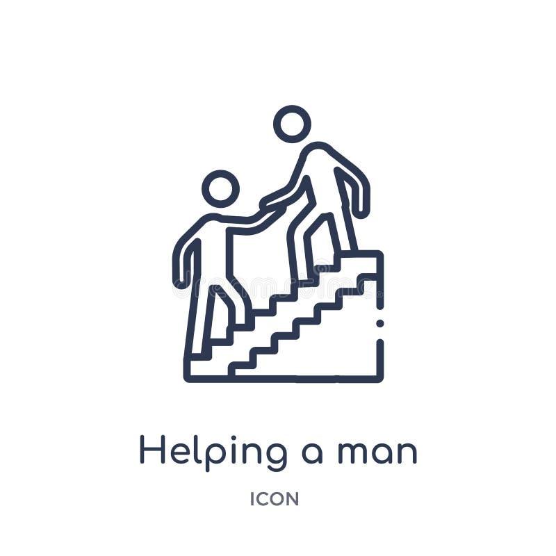 Lineare aiutando un uomo a scalare icona dalla raccolta del profilo di comportamento Linea sottile che aiuta un uomo a scalare ve illustrazione vettoriale