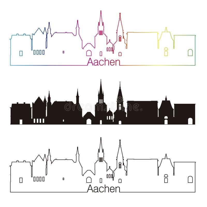 lineare art aachen skyline mit regenbogen vektor abbildung. Black Bedroom Furniture Sets. Home Design Ideas