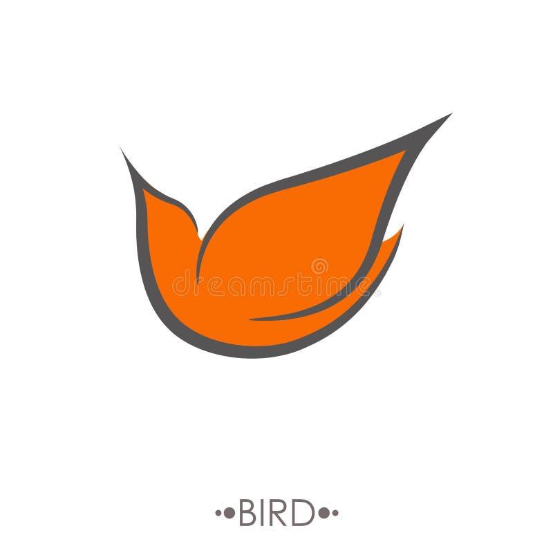 Lineare Art der Vogel-Logodesignvektor-Schablone stock abbildung