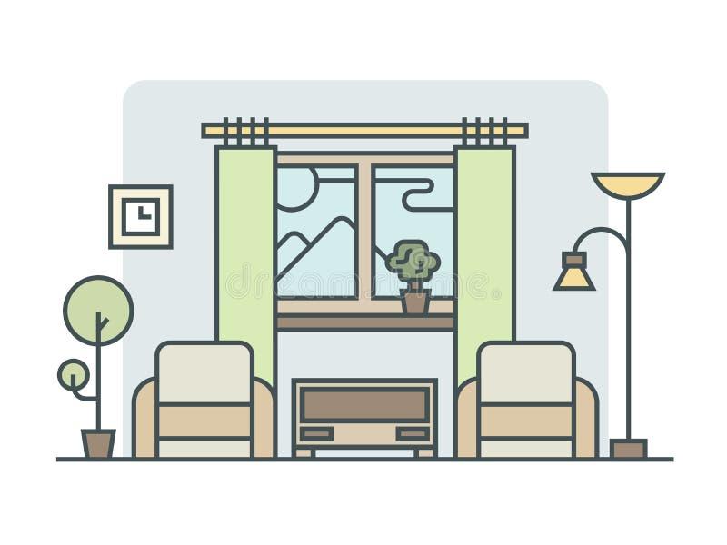 Lineare Art des Wohnzimmers vektor abbildung