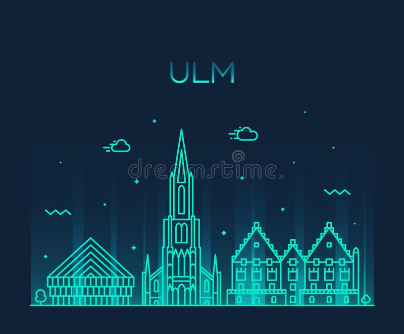 Lineare Art Vektors Ulm-Skyline Deutschlands Baden stock abbildung