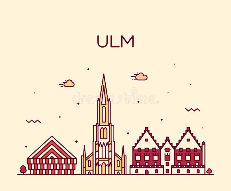 Lineare Art Vektors Ulm-Skyline Deutschlands Baden lizenzfreie abbildung