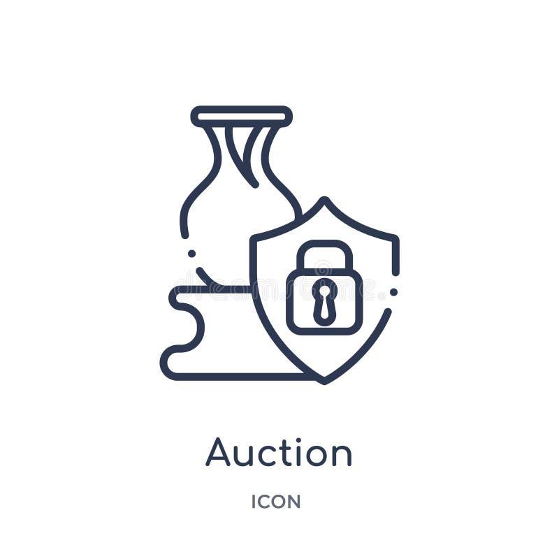 Lineare Auktionsikone von der Gdpr-Entwurfssammlung Dünne Linie Auktionsikone lokalisiert auf weißem Hintergrund modische Illustr lizenzfreie abbildung