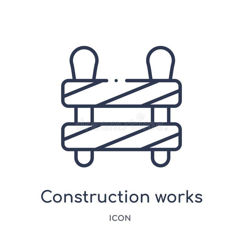 Lineare Bauarbeitikone von der Bauwerkzeug-Entwurfssammlung Dünne Linie Bauarbeitvektor lokalisiert auf Weiß vektor abbildung