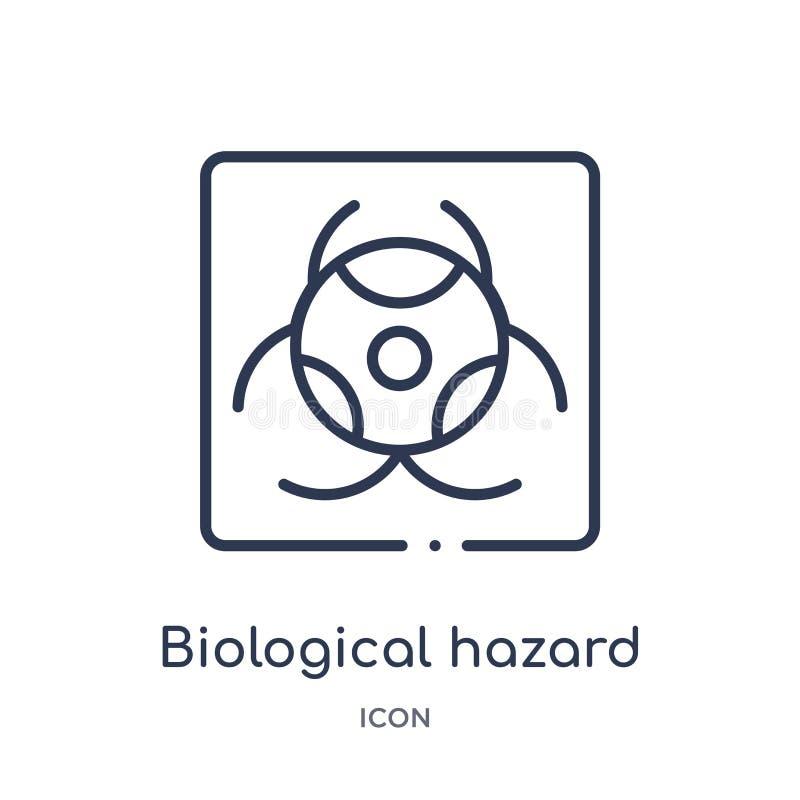 Lineare biologische Gefahrenikone von der wachsamen Entwurfssammlung Dünne Linie biologischer Gefahrenvektor lokalisiert auf weiß lizenzfreie abbildung