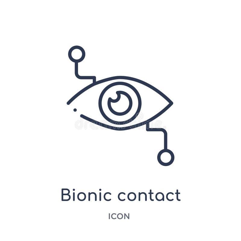 Lineare bionische Kontaktlinseikone von der Crowdfunding-Entwurfssammlung Dünne Linie bionischer Kontaktlinsevektor lokalisiert a lizenzfreie abbildung