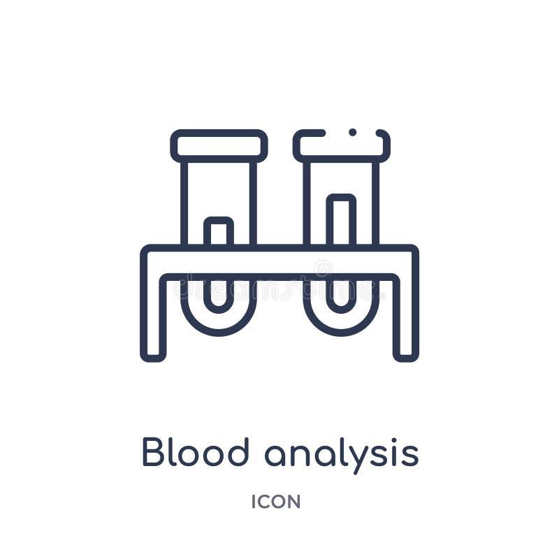 Lineare Blutuntersuchungsikone von der medizinischen Entwurfssammlung Dünne Linie Blutuntersuchungsikone lokalisiert auf weißem H vektor abbildung