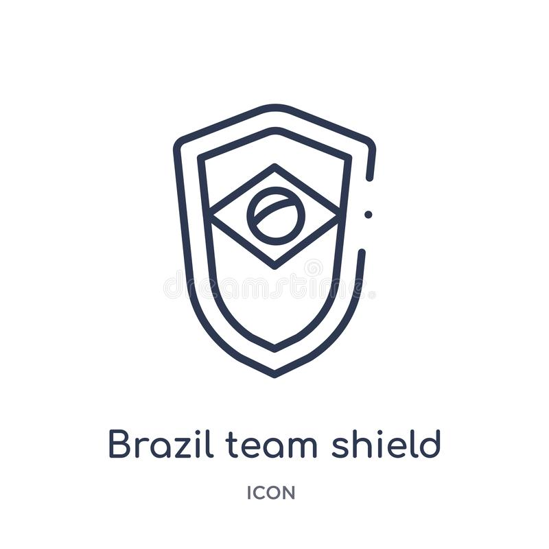Lineare Brasilien-Teamschildikone von der Kulturentwurfssammlung Dünne Linie Brasilien-Teamschildvektor lokalisiert auf weißem Hi lizenzfreie abbildung