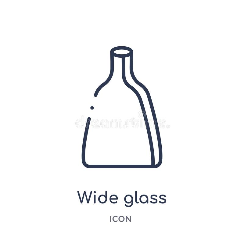 Lineare breite Glasikone von der Bistro- und Restaurantentwurfssammlung Dünne Linie breiter Glasvektor lokalisiert auf weißem Hin stock abbildung