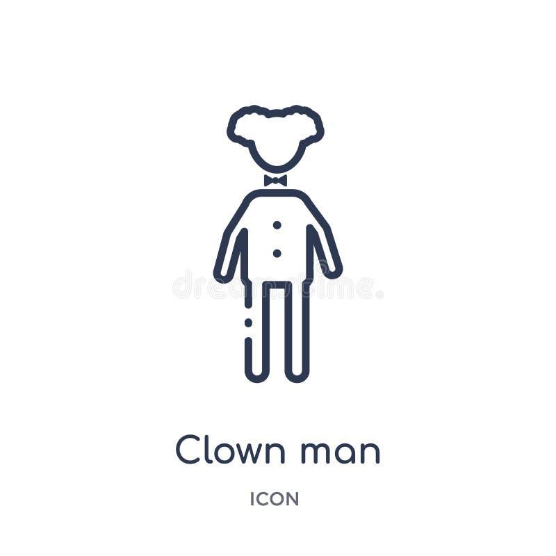 Lineare Clownmannikone von der Zirkusentwurfssammlung Dünne Linie Clownmannvektor lokalisiert auf weißem Hintergrund Clownmann mo stock abbildung