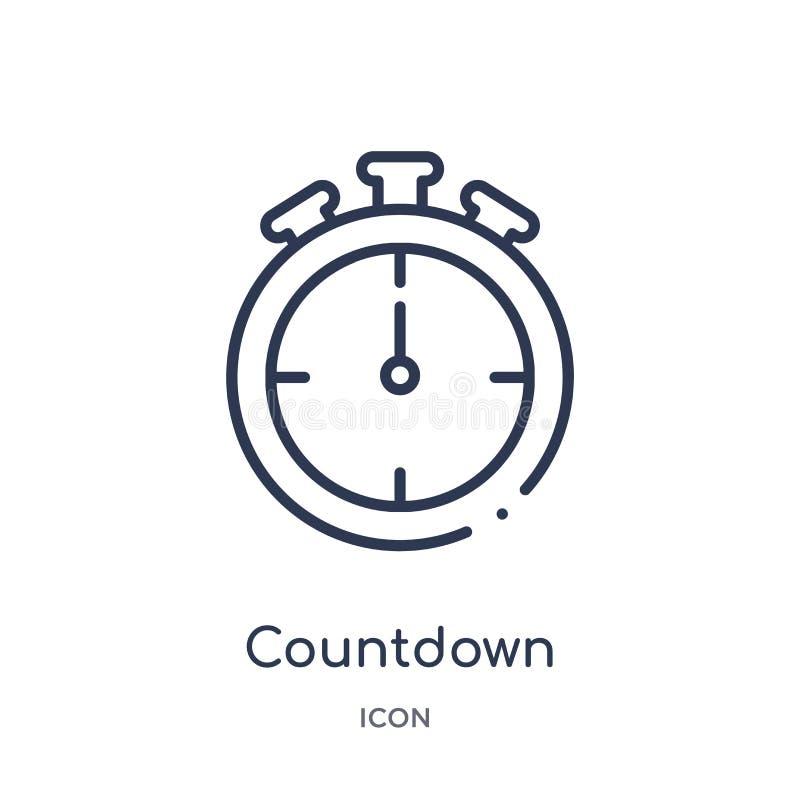 Lineare Countdownikone von der Entwurfssammlung der elektronischen Geräte Dünne Linie Countdownvektor lokalisiert auf weißem Hint vektor abbildung