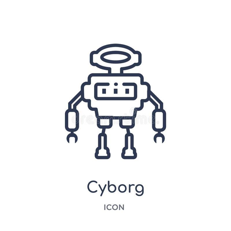 Lineare Cyborgikone vom künstlichen intellegence und von der zukünftigen Technologieentwurfssammlung Dünne Linie Cyborgvektor an  vektor abbildung