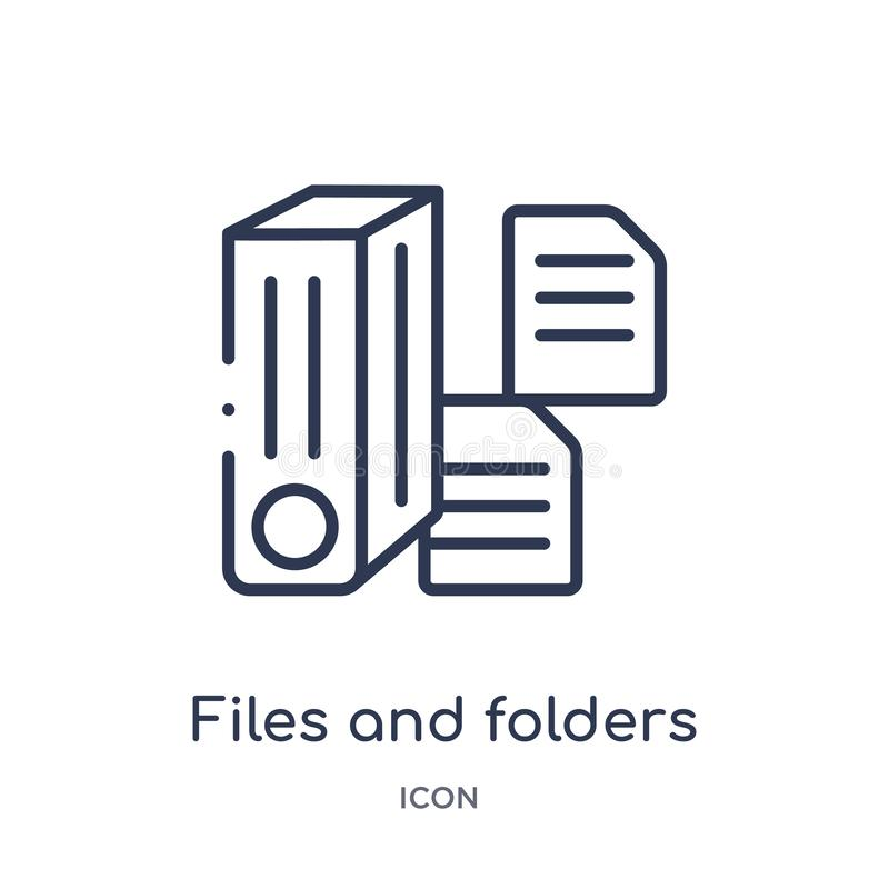 Lineare Dateien und Ordnerikone von der Electrian-Verbindungs-Entwurfssammlung Dünne Linie Dateien und Ordnervektor lokalisiert a lizenzfreie abbildung