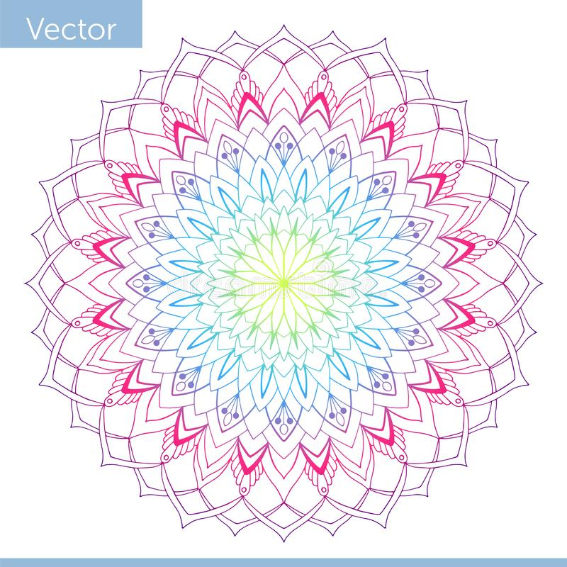 Lineare dekorative Mandala Regenbogensteigungsfarben vektor abbildung