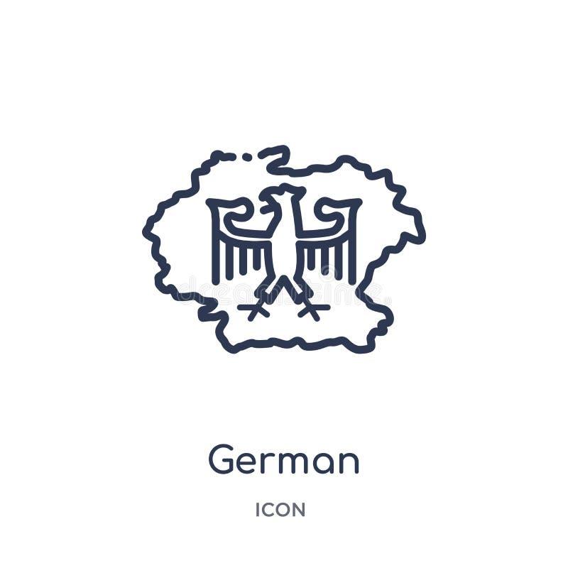 Lineare deutsche Ikone von der verschiedenen Entwurfssammlung Dünne Linie deutsche Ikone lokalisiert auf weißem Hintergrund deuts stock abbildung
