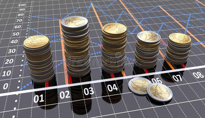 Lineare Diagramme snd Münzen vektor abbildung