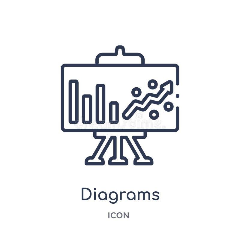 Lineare Diagrammikone von vermarktender Entwurfssammlung Dünnes Liniendiagramm die Ikone, die auf weißem Hintergrund lokalisiert  stock abbildung