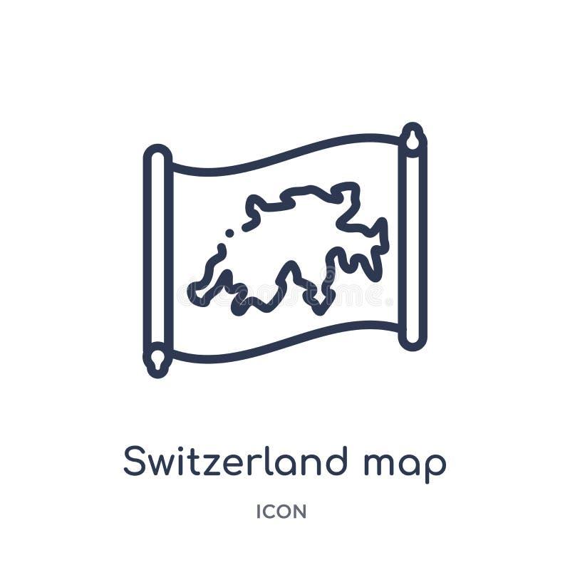 Lineare die Schweiz-Kartenikone von der Countrymaps-Entwurfssammlung Dünne Linie die Schweiz-Kartenvektor lokalisiert auf weißem  vektor abbildung