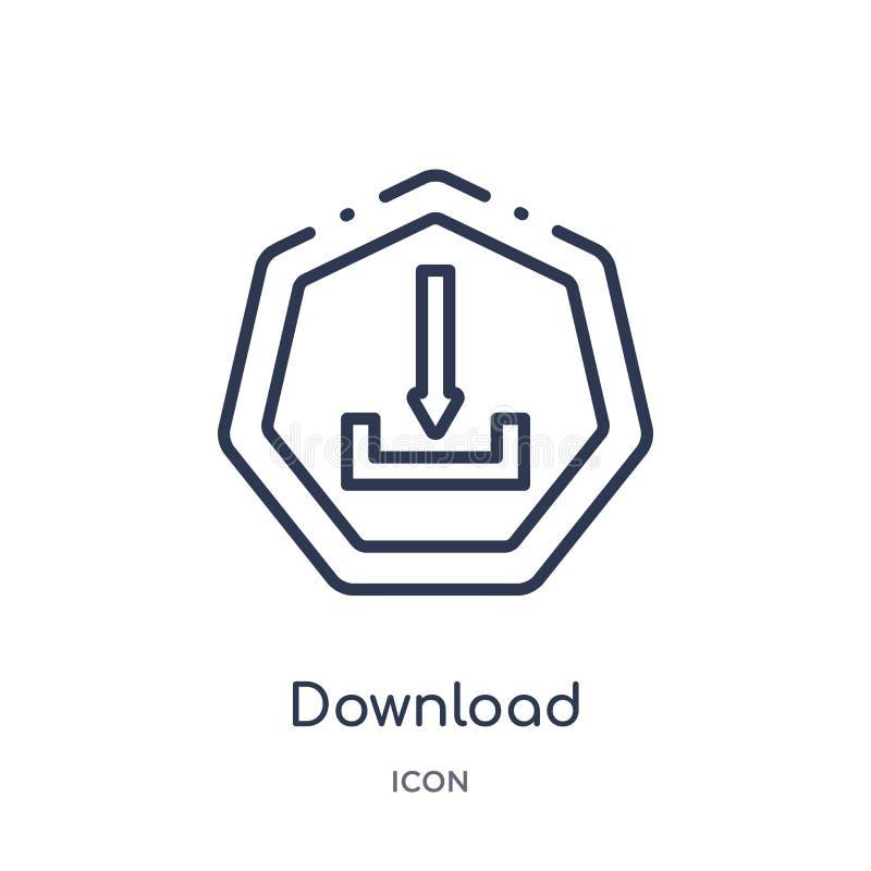Lineare Downloadikone von der Pfeilentwurfssammlung Dünne Linie Downloadvektor lokalisiert auf weißem Hintergrund Download modisc vektor abbildung