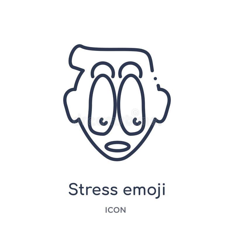 Lineare Druck emoji Ikone von der Emoji-Entwurfssammlung Dünne Linie Druck emoji Vektor lokalisiert auf weißem Hintergrund Druck  stock abbildung
