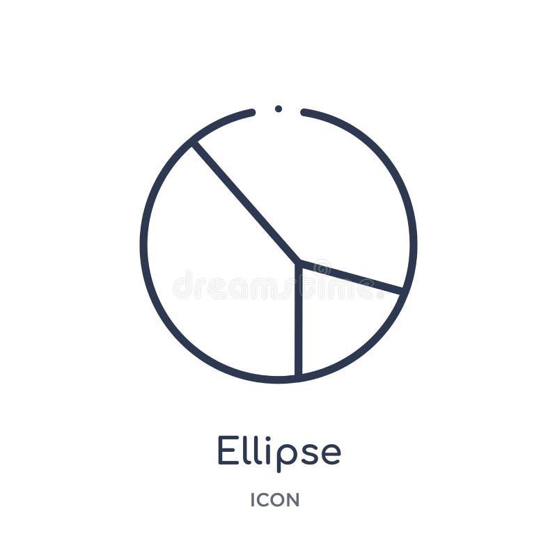 Lineare Ellipsenikone von der Geometrieentwurfssammlung Dünne Linie Ellipsenikone lokalisiert auf weißem Hintergrund Ellipse modi vektor abbildung