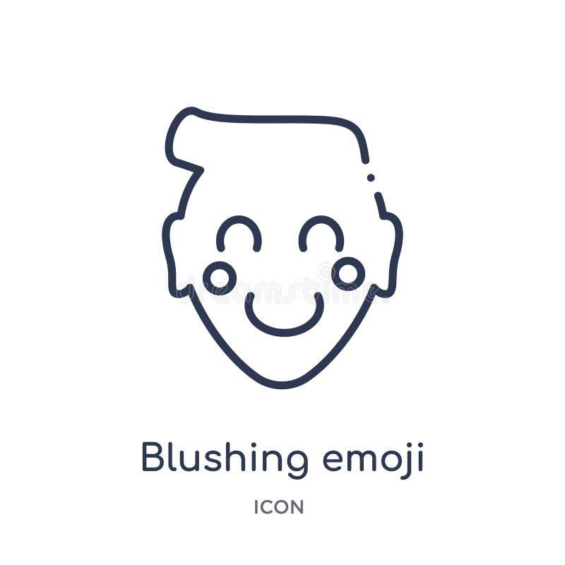 Lineare errötende emoji Ikone von der Emoji-Entwurfssammlung Dünne Linie errötender emoji Vektor lokalisiert auf weißem Hintergru lizenzfreie abbildung