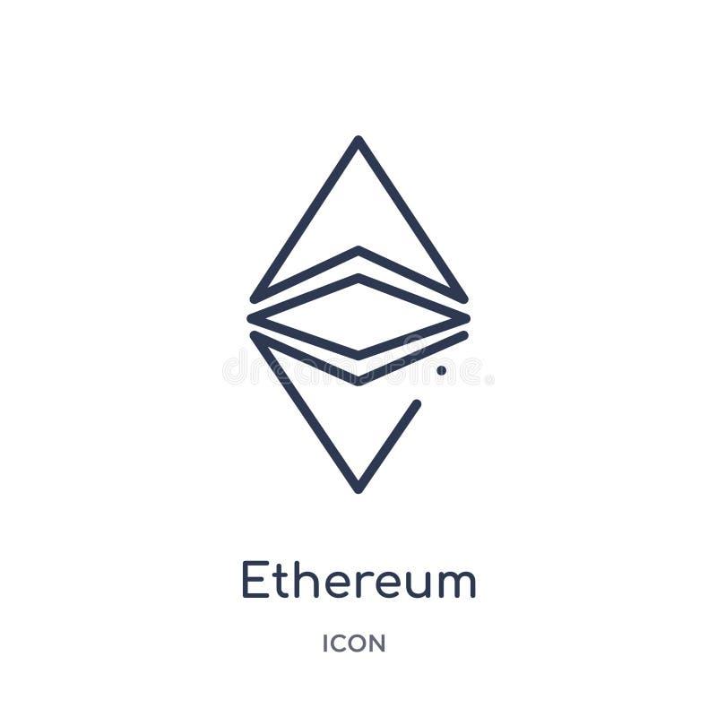 Lineare ethereum Ikone von Cryptocurrency-Wirtschaft und von der Finanzentwurfssammlung Dünne Linie ethereum Vektor lokalisiert a stock abbildung