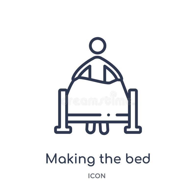 Lineare facendo l'icona del letto dalla raccolta del profilo di comportamento Linea sottile che fa il vettore del letto isolato s royalty illustrazione gratis