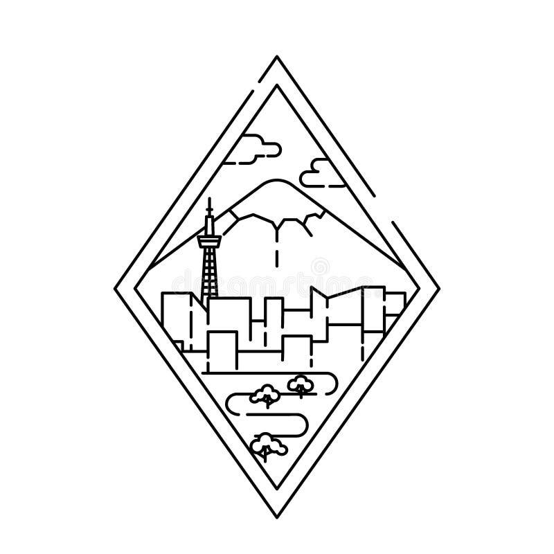 Lineare Fahne von Tokyo-Stadt Linie Kunst stock abbildung
