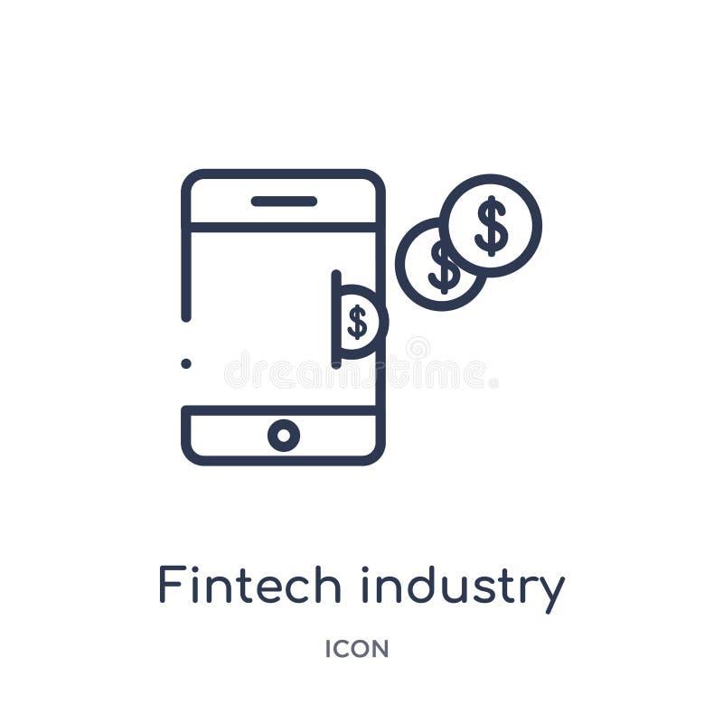Lineare fintech Industrieikone von Cryptocurrency-Wirtschaft und von der Finanzentwurfssammlung Dünne Linie fintech Industrievekt lizenzfreie abbildung