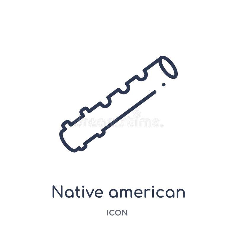Lineare Flötenikone des amerikanischen Ureinwohners von der Kulturentwurfssammlung Dünne Linie Flötenvektor des amerikanischen Ur lizenzfreie abbildung
