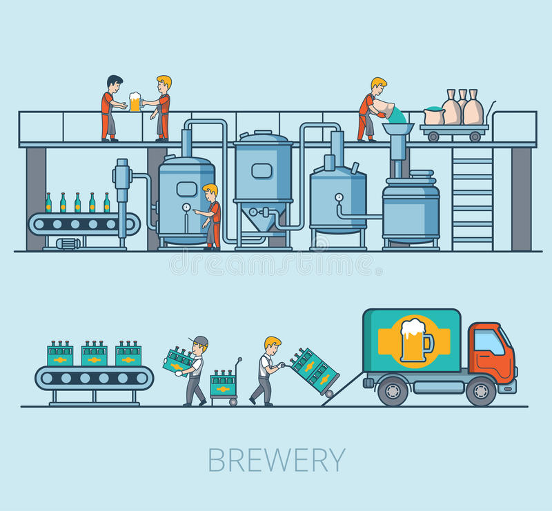 Lineare flache Brauereibierlinie Hopfenladensatz lizenzfreie abbildung
