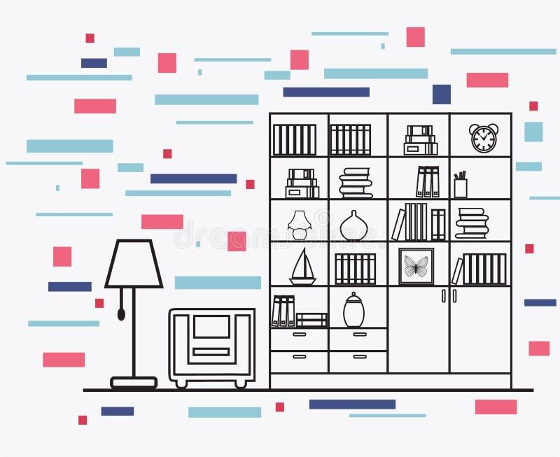 Lineare flache Innenarchitekturillustration des modernen Designerhauses vektor abbildung