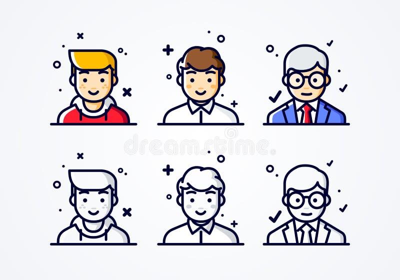 Lineare flache Leute des Vektors stellen Ikonensatz gegenüber Social Media Avatara, Benutzer pic und profil unterschiedlicher män lizenzfreie abbildung