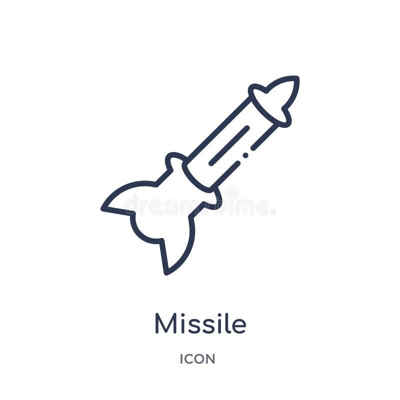 Lineare Flugikone von der Armee- und Kriegsentwurfssammlung Dünne Linie Flugvektor lokalisiert auf weißem Hintergrund Rakete modi lizenzfreie abbildung