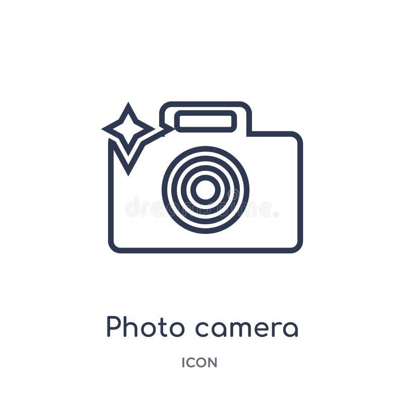 Lineare Fotokamera mit greller Ikone von der elektronischen Materialfülle-Entwurfssammlung Dünne Linie Fotokamera mit grellem Vek vektor abbildung