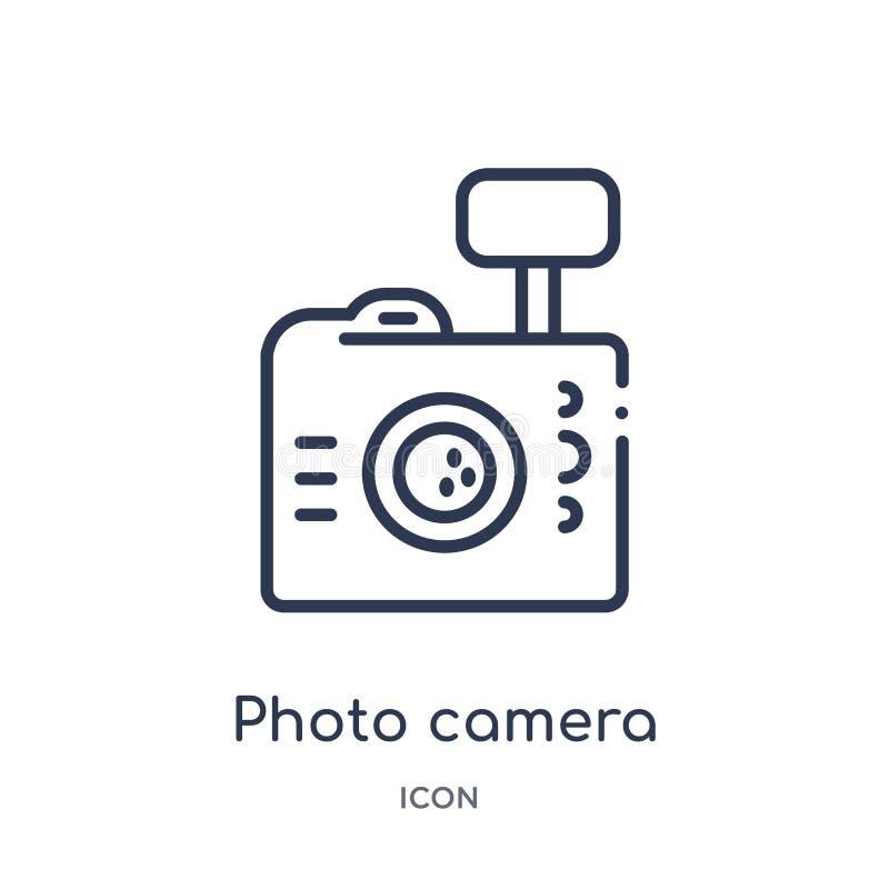 Lineare Fotokameraikone von der Brazilia-Entwurfssammlung Dünne Linie Fotokameravektor lokalisiert auf weißem Hintergrund foto stock abbildung