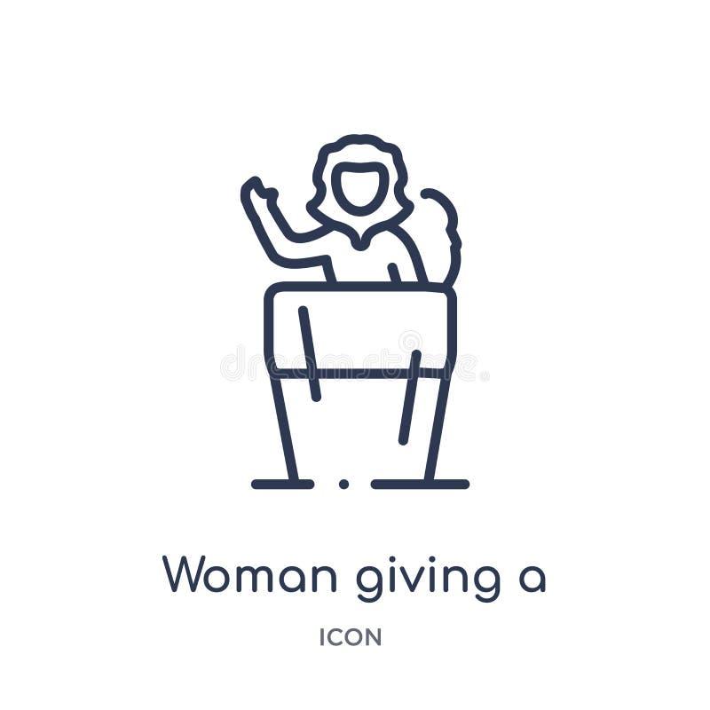 Lineare Frau, die eine Spracheikone von der Damenentwurfssammlung gibt Dünne Linie Frau, die eine Spracheikone lokalisiert auf We stock abbildung