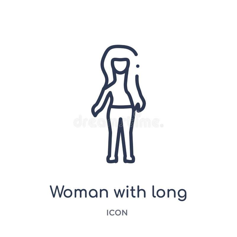 Lineare Frau mit langer Haarikone von der Damenentwurfssammlung Dünne Linie Frau mit der langen Haarikone lokalisiert auf weißem  stock abbildung